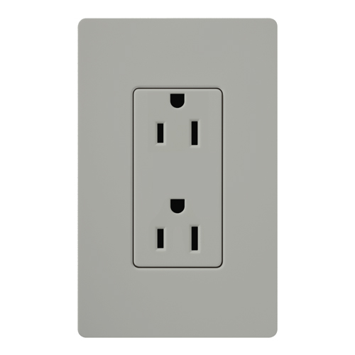 CAR-15-GR LUTRON CLARO 15A RECEPTACLE, GRAY