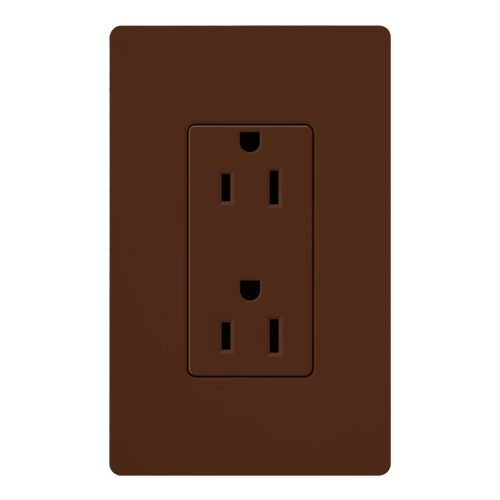 SATIN COLOR 15 AMP RECEPTACLE SIENNA
