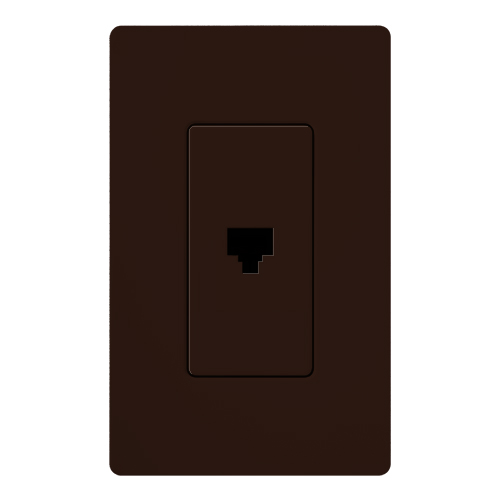 Claro® Satin Colors® CA-PJH-BR Single Telephone Jack, RJ11 Connector, 1 Ports, Screw Termination, Surface Mount, Brown